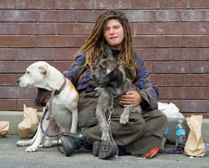 Homeless Woman with two dogs
