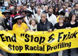 """June 17 silent protest march headed by Rev. Al Sharpton against """"Stop & Frisk"""" policy."""