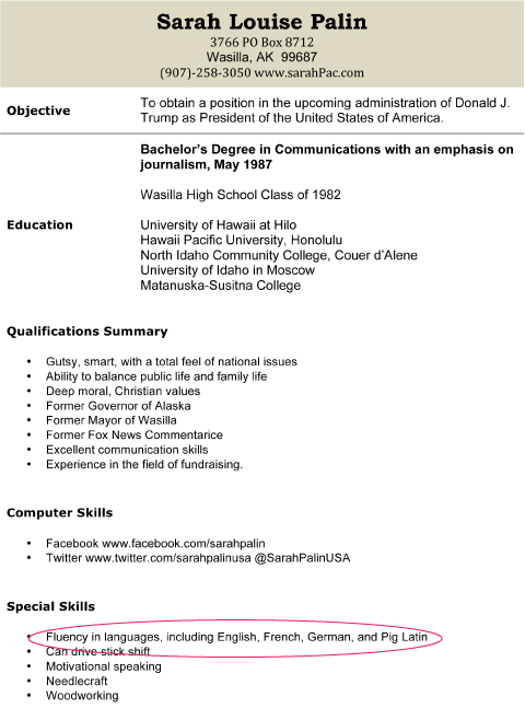 resume language